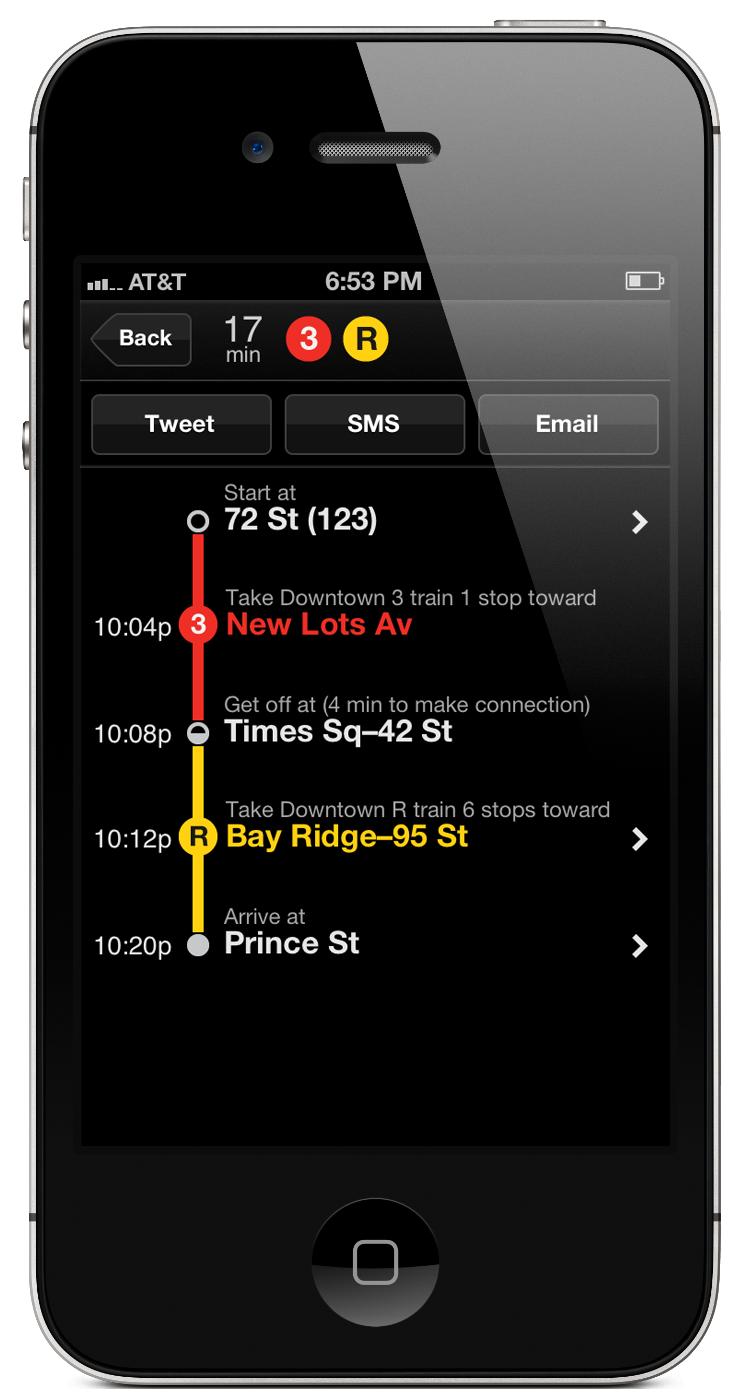 Screenshot of Embark NYC app trip detail screen