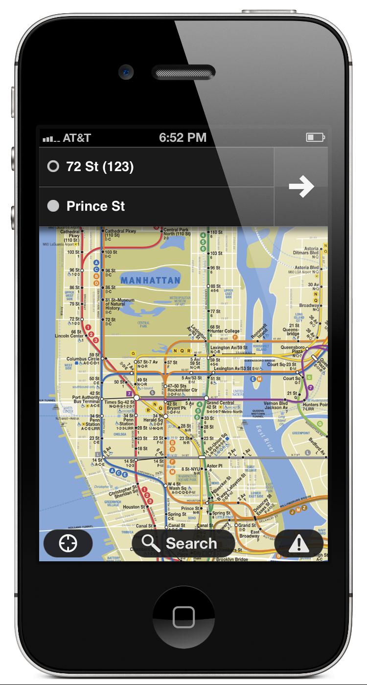 Screenshot of Embark NYC app home screen