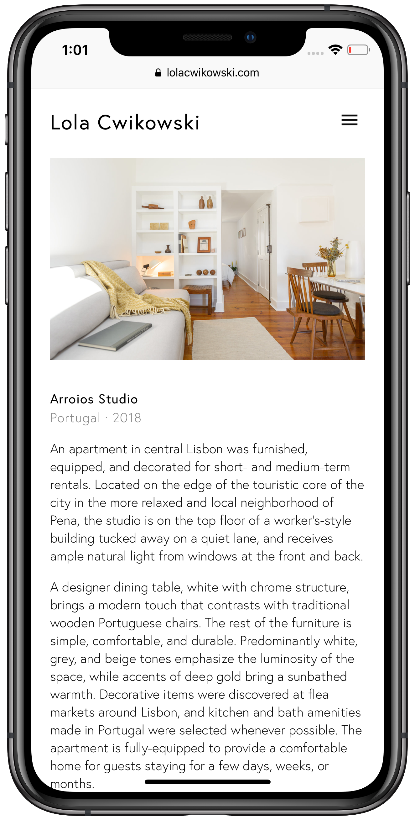 Screen capture of Lola Cwikowski Interior Design Studio website, Arroios studio project