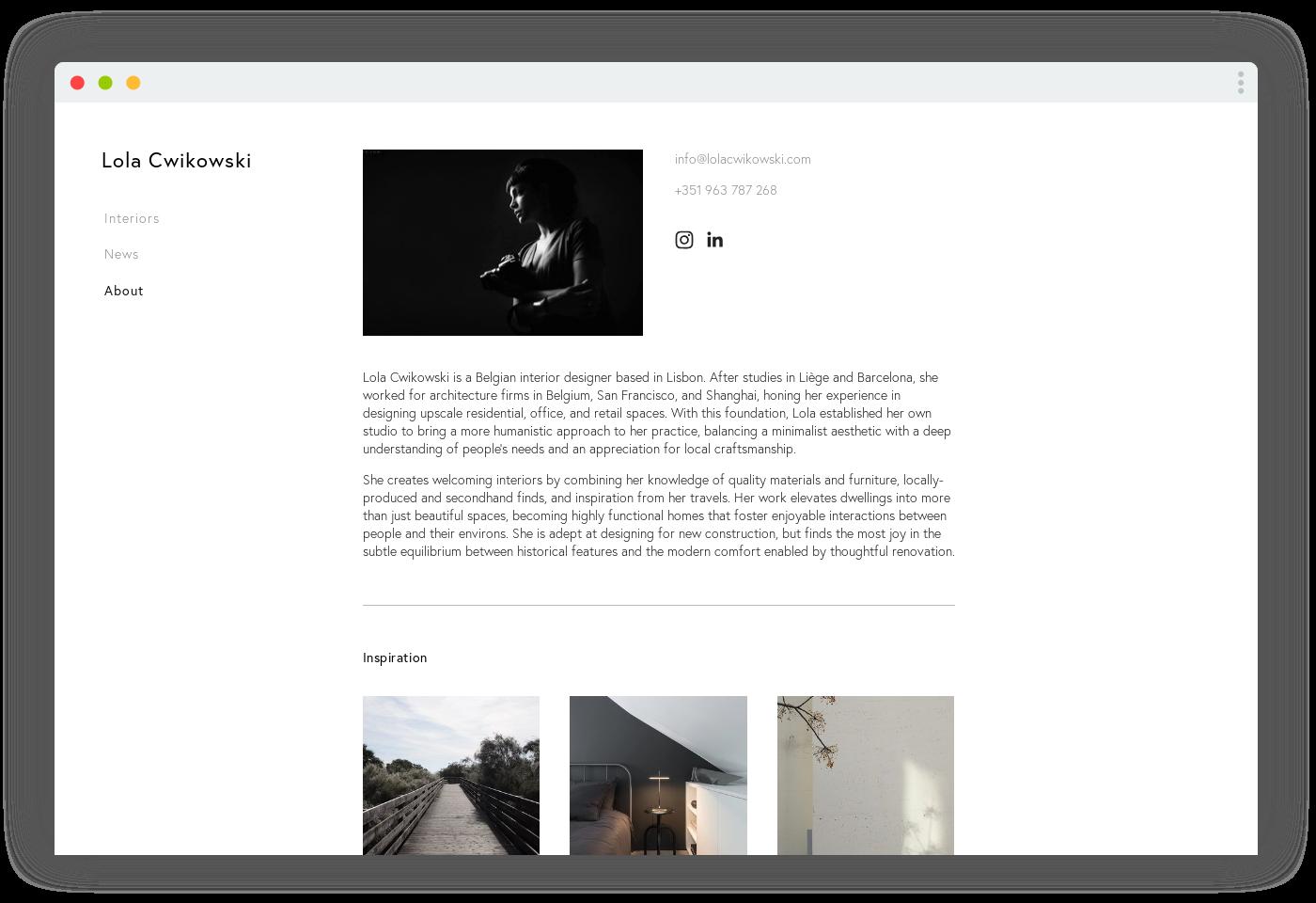 Screen capture of Lola Cwikowski Interior Design Studio website, bio page