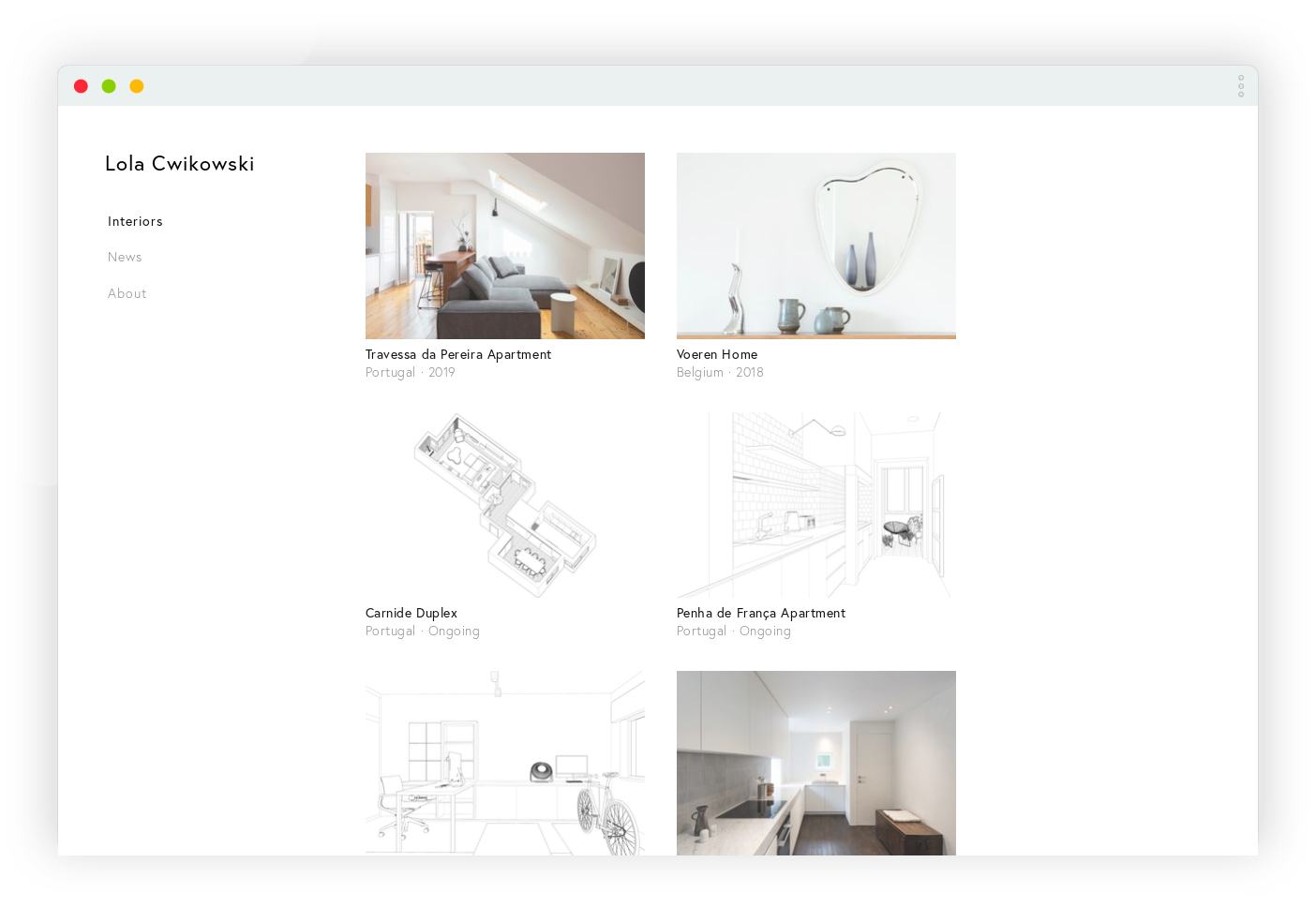 Screen capture of Lola Cwikowski Interior Design Studio website, project index page