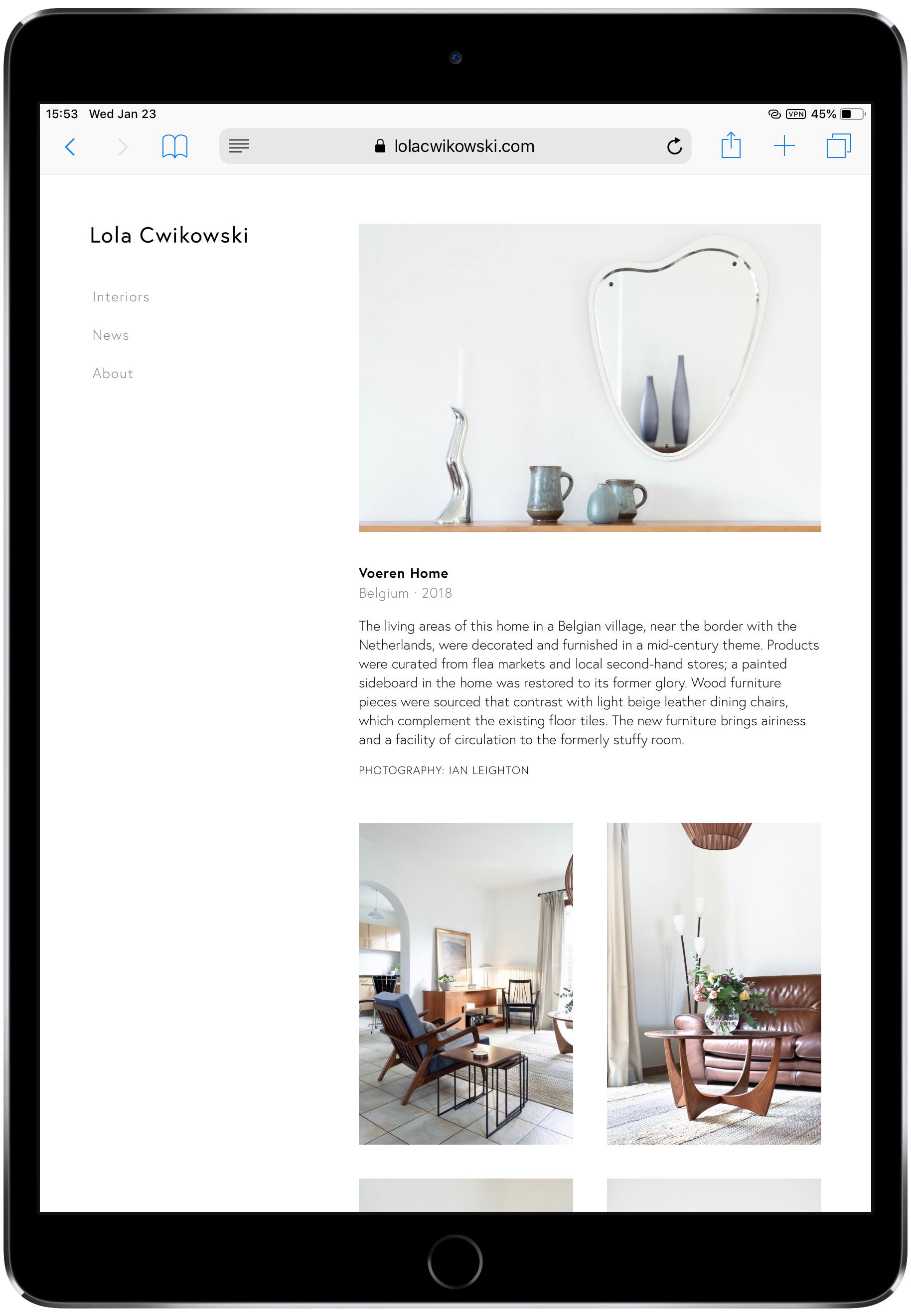 Screen capture of Lola Cwikowski Interior Design Studio website, Voeren Home project