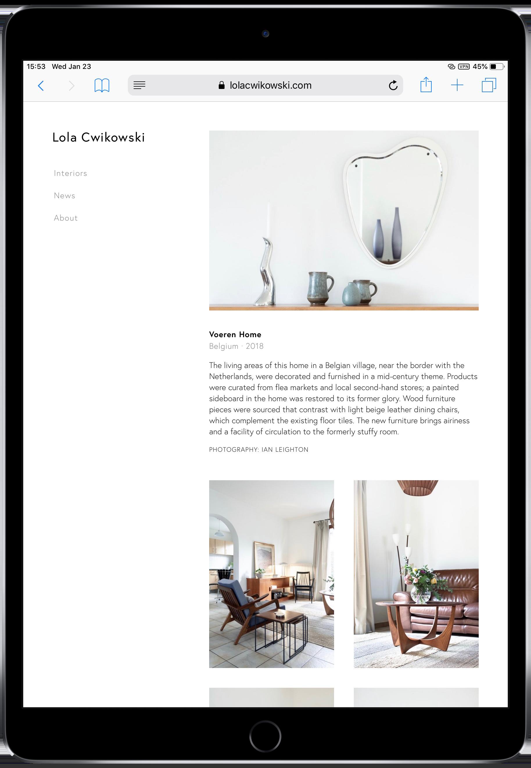 Screen capture of Lola Cwikowski Interior Design Studio website, Voeren Home project