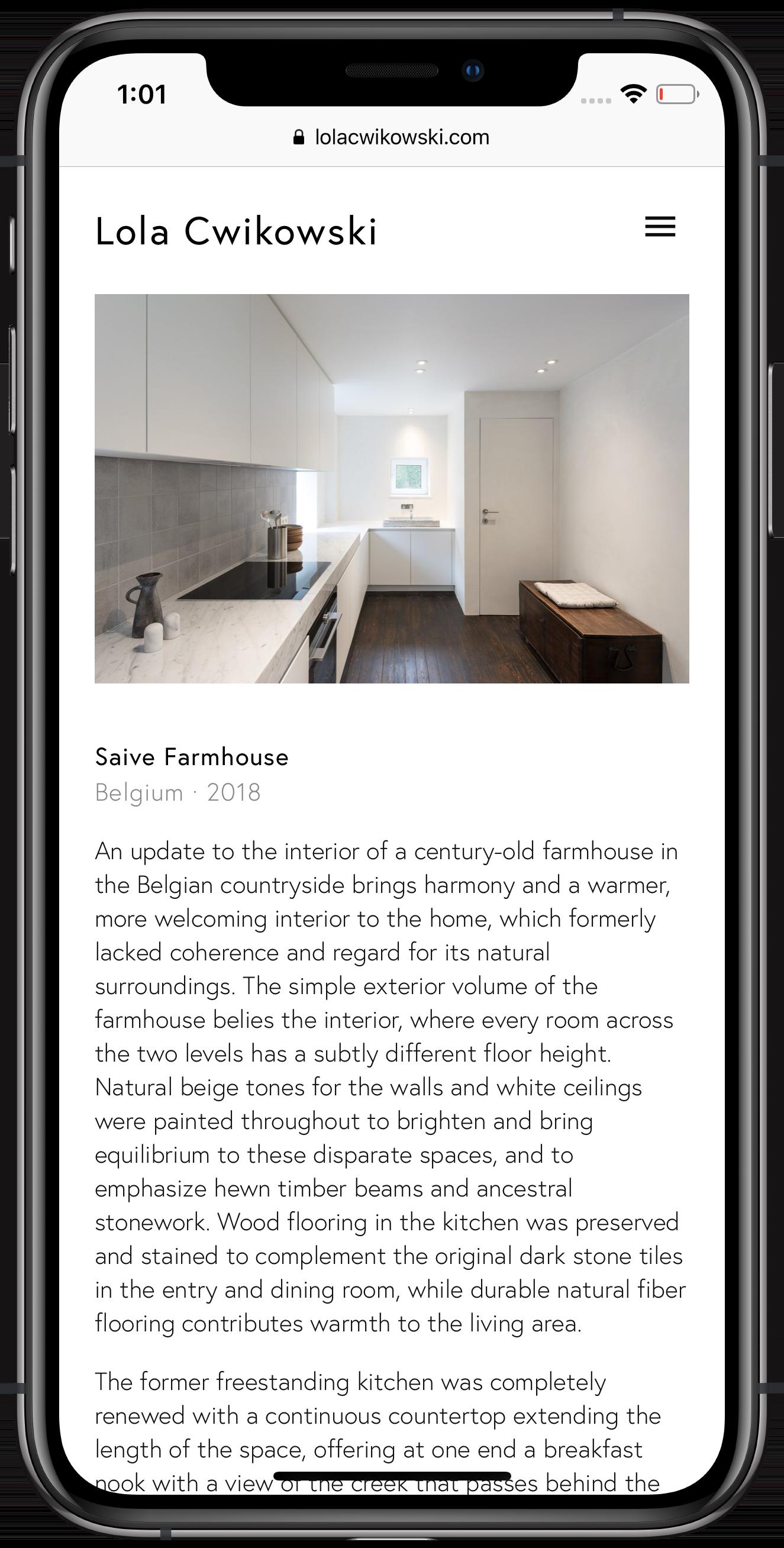 Screen capture of Lola Cwikowski Interior Design Studio website, Saive Farmhouse project