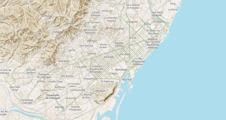 Screenshot of Velo bicycle-focused map design prototype, Barcelona