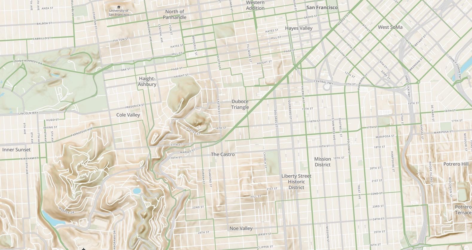 Screenshot of Velo bicycle-focused map design prototype, San Francisco Detail