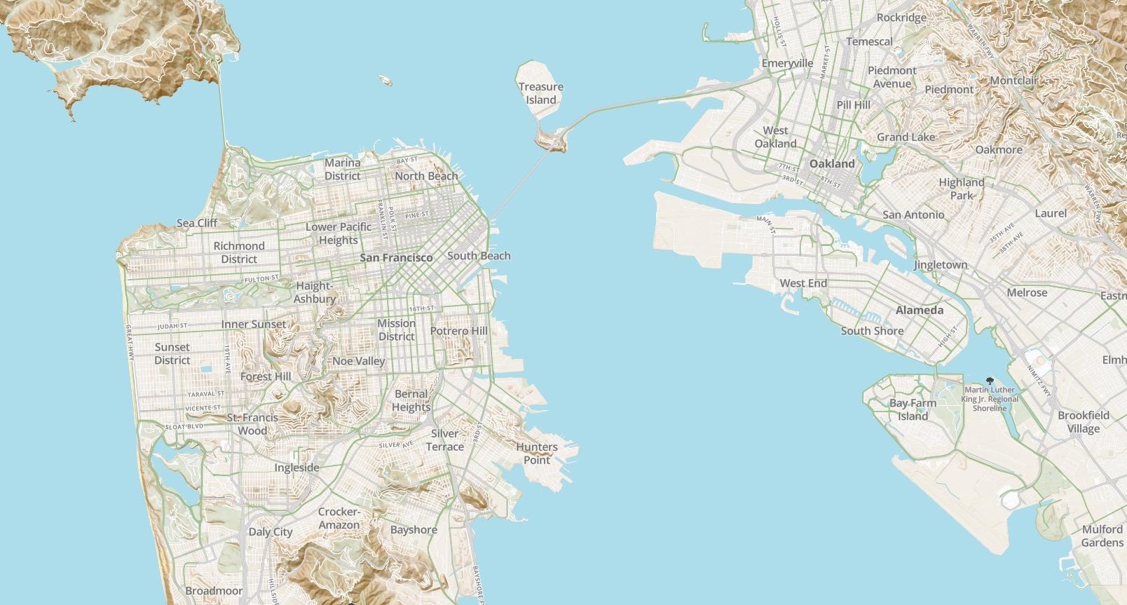 Screenshot of Velo bicycle-focused map design prototype, SF Bay Area