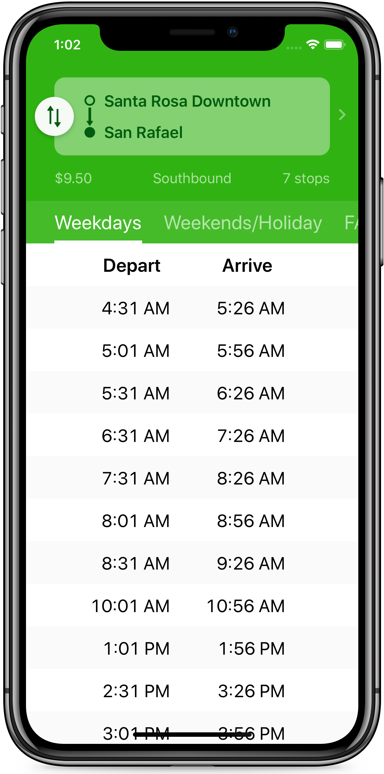 Wye train schedules app screenshot of weekday timetable